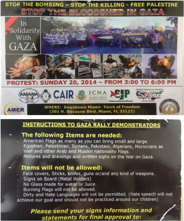Photo of protest information card obtained at the Miami protest on July 20, 2014. Note,